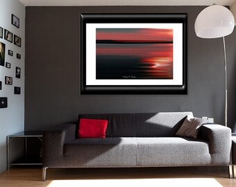 Dramatic Wall Art-Red Wall Art-Abstract Landscape-Sunset-Motion-Blur-Fine Art Photograph-Wall Print-Painting Inspired-Unmatted-Red Black Art