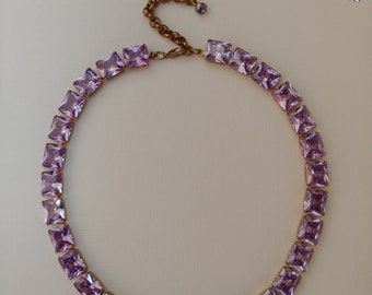 Amethyst Collet Necklace, Anna Wintour Necklace,violet Riviere Necklace, Georgian Paste choker, regency Jewelry,18th Century  Necklace