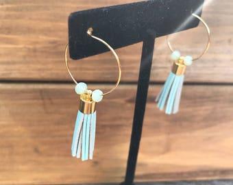 Light Blue Leather Tassel Earrings