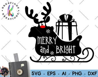 Hand lettered SVG Hand Drawn Merry and Bright svg print decal sleigh deer clipart Cut Files Cricut Silhouette Digital Vector SVG dxf Png