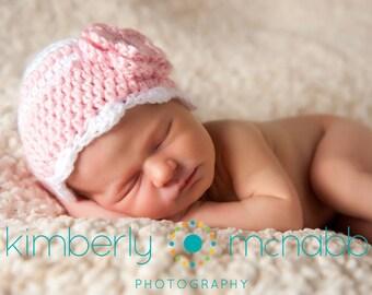 Newborn Baby Girl Hat, Ready to Ship, Crochet Baby Hat, Baby Shower Gift, Newborn Hat for Girl, Photo Prop, Baby Girl Hat, Baby Girl Beanie
