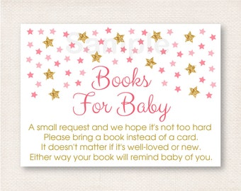 Pink & Gold Star Book Request Cards / Twinkle Star Baby Shower / Books For Baby / Printable INSTANT DOWNLOAD A196