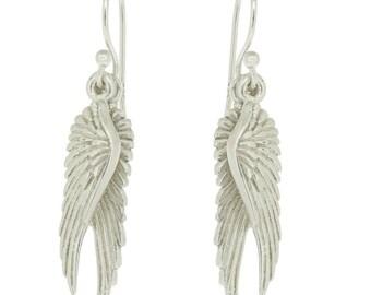 Sterling silver Angel wing earrings #angel