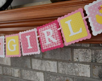 Rubber Duck It's A Girl Banner, Duckie Baby Shower, Duck Baby Shower, Girl Baby Shower, Rubber Duck Party, You Select Colors