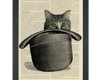 Green eyed cat in a bowler hat Dictionary Art Print
