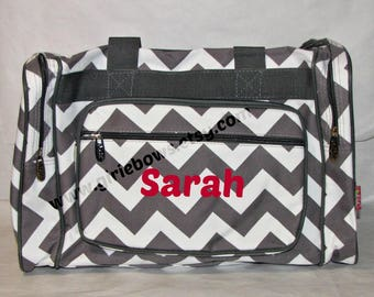 """Personalized 23"""" Duffle Duffel Gym Gymnastics Overnight Bag - Gray Grey and White Chevron zig zag  MONOGRAMMED FREE By Girliebows"""