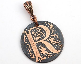 Round letter R pendant, small round flat metal copper etched monogram initial, optional necklace, 25mm