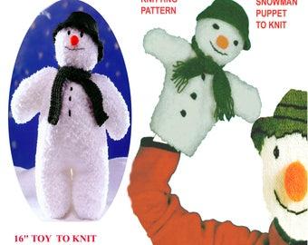 "16"" Snowman & Snowman Puppet to Knit, PDF Knitting Pattern"