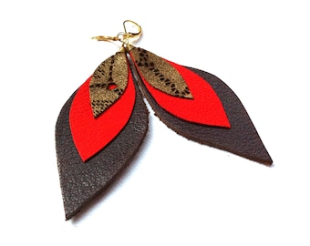 "3"" Leather Leaf Earrings"