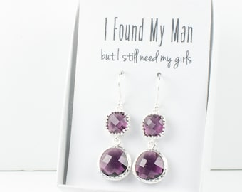 Long Amethyst Silver Earrings, February Birthstone Earrings, Purple Silver Earrings, Bridesmaid Earrings, Purple Wedding Jewelry