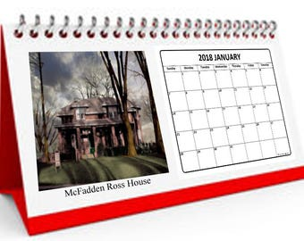 Desktop Calendar featuring digitally tinted archival photos of Old Dearborn Michigan