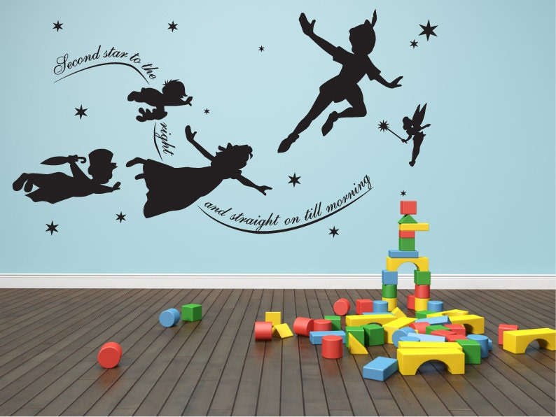 Wall decal Peter pan second star to the right mural
