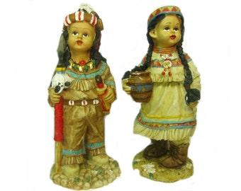 Vintage Indian Boy Girl Figurine Native American Children Ceramic Figure