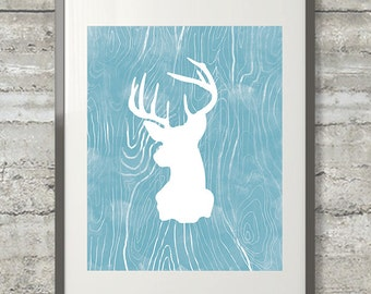 Deer Silhouette Faux Bois Watercolor Style Printable  Art in Blue Fog- Instant Download