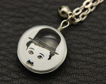 Charlie Chaplin Necklace, Double sided cabochon