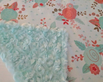 Baby Lovey Girl, Mint Coral Lovey, Mint and Coral Nursery, Mint and Gold Baby Shower, Baby Security Blanket, Coral Mint Nursery