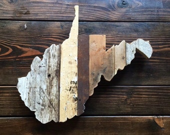 West Virginia Reclaimed Wood State Outline Wall Art - Large