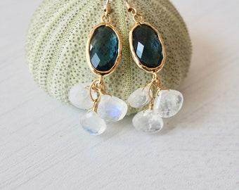 Blue Quartz and moonstone earrings, gold moonstone earrings,blue and white earrings, gift under 85,delicate earrings, gemstone earrings, bff