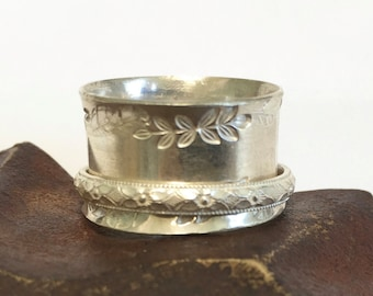 Sterling Silver Spinner Ring - Wide Band  - Hand Stamped  - Made to Order
