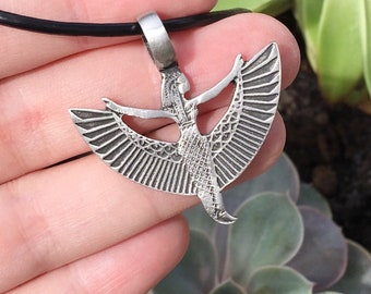 Detailed winged Isis silver pendant and necklace, Egyptian goddess Isis necklace