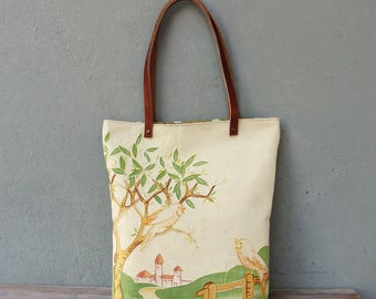 Embroidered Bird Tote Leather Bird Tote Natural Tree and Village Bag