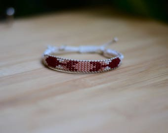 Shamballa Wrap bracelet Burgundy and pink