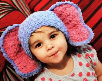 12 to 24m Baby Elephant Hat Crochet Elephant Ears Fluffy Baby Hat Lagoon Blue Raspberry Crochet Elephant Hat Elephant Photo Prop Christmas