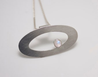 Sterling Silver Orbit Pendant with Peristerite Moonstone on Wheat Chain Necklace