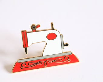 Nähen Maschine Emaille-Pin, set crafty Emaille-Pin, Nähen Emaille Pin, harte Emaille-Pin, Emaille-Pin, Pingame, rot