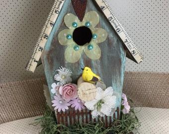 Decorative Birdhouse Altered Art Mixed Media Blue Shabby Chic