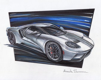 Ford Gt Automotive Art Muscle Car Brother Gift Auto Wall Decor Ford Painting Print Custom Car Portrait Gift For Him