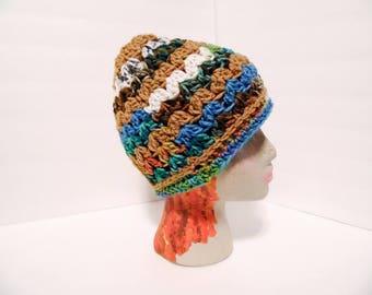 Messy Bun Hat, Amazon Rainforest Blues & Browns Colors