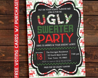 Ugly Sweater Party Invitation, Ugly Sweater Party, Ugly Sweater Invitations