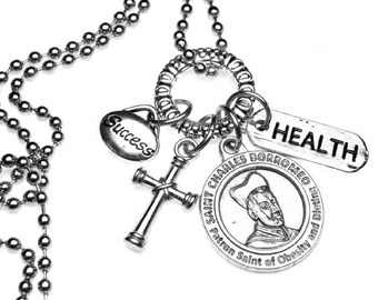 Dieters Patron Saint St. Charles Borromeo Catholic Holy Medal Charm Necklace or Key Chain Keychain, Health & Success, Dieting, Obesity