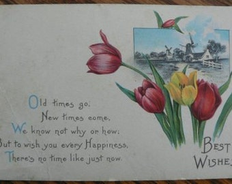 vintage POSTCARDS ... BEST WISHES stamped 1923  ...