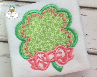 Shamrock with Bow St Patricks Day Shirt or Bodysuit, Girl Shamrock Shirt, Girl St. Patricks Day Shirt, St Patricks Day Shirt