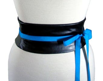 Faux Leather Black Obi Belt / Waist Cincher Corset / Leather Wedding Sash / Black Accent Belt / Plus Size Belt / Halloween Costume Corset