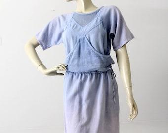 80s mesh cotton dress, vintage blue beach dress