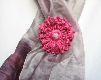 Flower brooch Brooch crochet Cotton flower Gift brooch Pin brooch Pink flower brooch Jewelry brooch Flower pin brooch Brooch pin