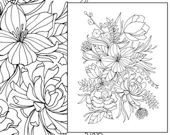 adult coloring page flower coloriage floral coloring page