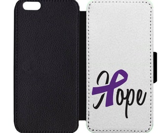 Domestic Violence Hope Ribbon Alzheimers Print Leather Flip Wallet Case Apple iPhone 5 5S SE 6 6S 7 7S 8 8S X Plus