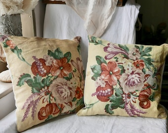 Antique Linen Cushion Yellow Red Floral Fabric Vintage Home Furnishings, 19C French Country Home