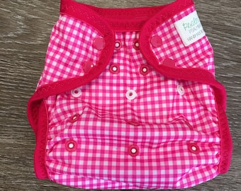 One Size Eco-PUL Cloth Diaper Cover Pink Gingham - Washable Diaper - Baby Shower Gift - Baby Shower Gift