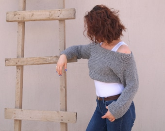 Gray knit sweater womens/Hand knit gray long sleeve sweater/Pullover/Plus size/Christmas gift/Off the shoulder sweaters/Chunky sweater