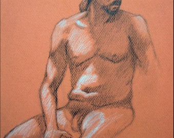 "Male Figure Drawing - Seated Nude Male Figure - original drawing, graphite and pastel on toned paper, 9x12 ""Tim"""