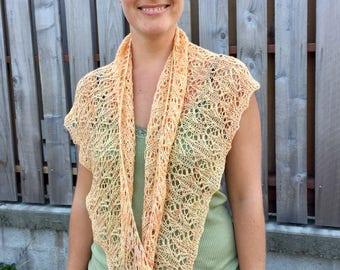 You Are My Sunshine shawl, handknit, hand dyed, merino, bamboo