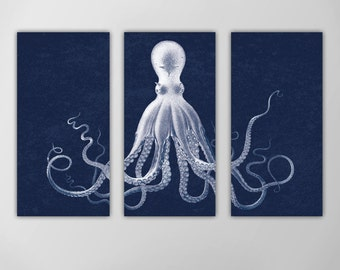 Octopus Triptych, Octopus Nautical Art Print, Lord Bodner's Octopus, Navy Octopus Wall Art, Nautical Art Octopus, Giant Octopus Wall Art