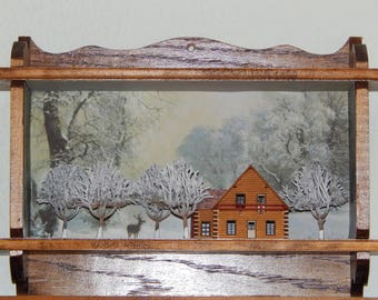 Winter woods cabin, hand made scene for decorating or display.