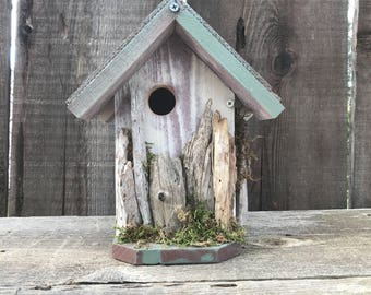 Birdhouse Handmade Recycled Wood Hand Painted Bird House White & Green with White Washed Driftwood, Farmhouse Birdhouses, Item #595047397