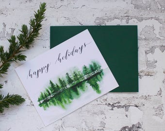 Misty Trees - Watercolor/Calligraphy Holiday Card